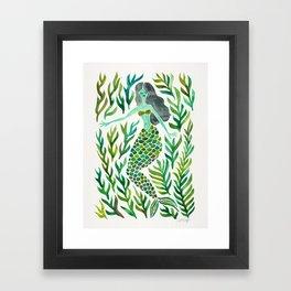 Kelp Forest Mermaid – Green Palette Framed Art Print