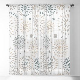 Abstract watercolor sparkles – neutral Sheer Curtain
