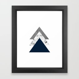 Blue grey monochrome blossom arrows Framed Art Print