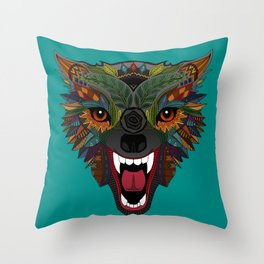 wolf fight flight teal Throw Pillow