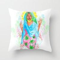 nicki Throw Pillows featuring Virgin Mary (Jane) by AnnaToman