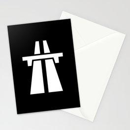 Freeway, Motorway, Autobahn - White on Black Stationery Cards