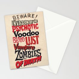 B Movie Beware Stationery Cards