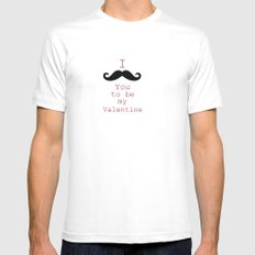 Moustache White Mens Fitted Tee MEDIUM