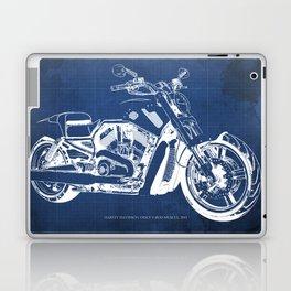 Blue motorcycle blueprint, HD VRSCF V-Rod Muscle,white line,home decor,man office, man cave decor Laptop & iPad Skin