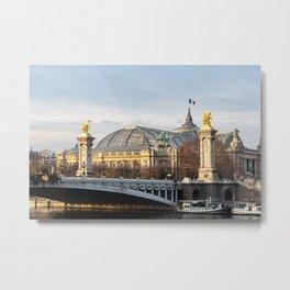 Alexandre III bridge and Grand Palais at golden hour in Paris Metal Print