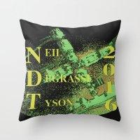 neil gaiman Throw Pillows featuring Neil Degrasse Tyson 2016 Vintage by Abram Freitas