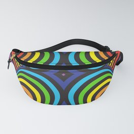 Three-dimensional volumetric pattern. colorful rainbow on black background Fanny Pack