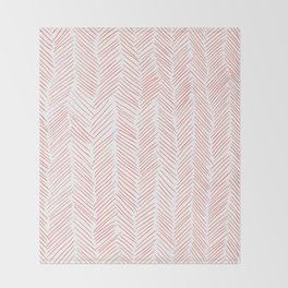 Living Coral Herringbone Throw Blanket
