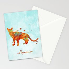 Abyssinian Cat Watercolor Orange Light Blue Abstract Stationery Cards