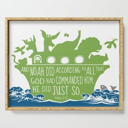 Noahs Ark - Bible - And Noah Did According to All that God had Commanded him Serving Tray