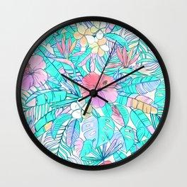 Pretty Pastel Hawaiian Hibiscus Print Wall Clock