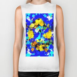 psychedelic geometric circle pattern and square pattern abstract in blue yellow brown Biker Tank