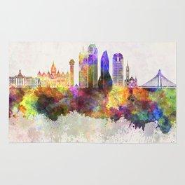 Dallas skyline in watercolor background Rug