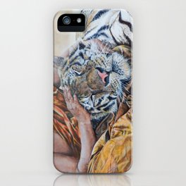 Rest Your Head - Tiger with Buddhist Monk iPhone Case