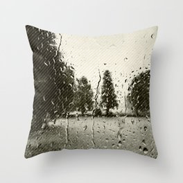 Cypress in the Rain Throw Pillow