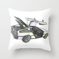 delorean Throw Pillows featuring DMC - Delorean by dareba