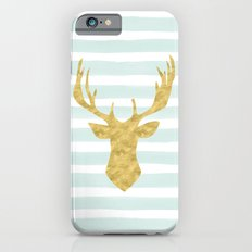 Gold Deer on Mint Watercolor Stripes Slim Case iPhone 6s