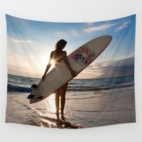 surfer Wall Tapestries featuring Surfer Girl by metroymedio