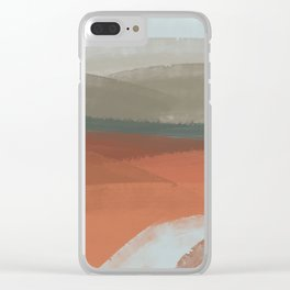 Watercolor sea under the mountains Clear iPhone Case