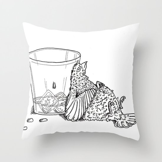 Thirsty Grouse Throw Pillow