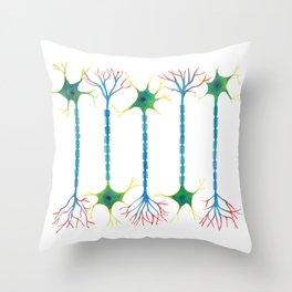 Neuron 5 in White Throw Pillow