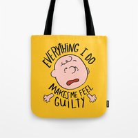charlie brown Tote Bags featuring CHARLIE BROWN by Josh LaFayette