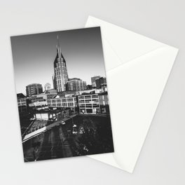 Nashville Downtown in Black and white Stationery Cards