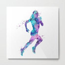 Girl Running Art Colorful Purple Pink Turquoise Watercolor Sports Art Metal Print