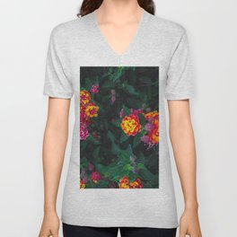 closeup blooming colorful flowers with green leaves Unisex V-Neck