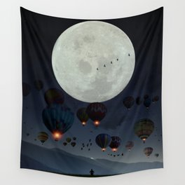 Human facing the moon and balloons by GEN Z Wall Tapestry