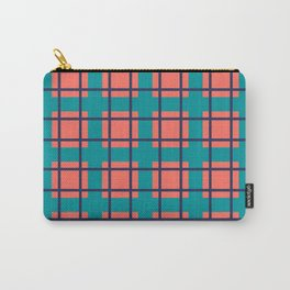Coral, Turquoise, and Navy Plaid Carry-All Pouch