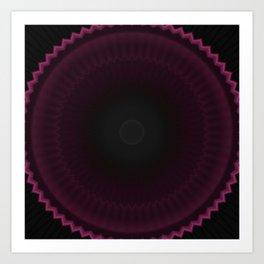Dark Burgundy Dusk Mandala Art Print