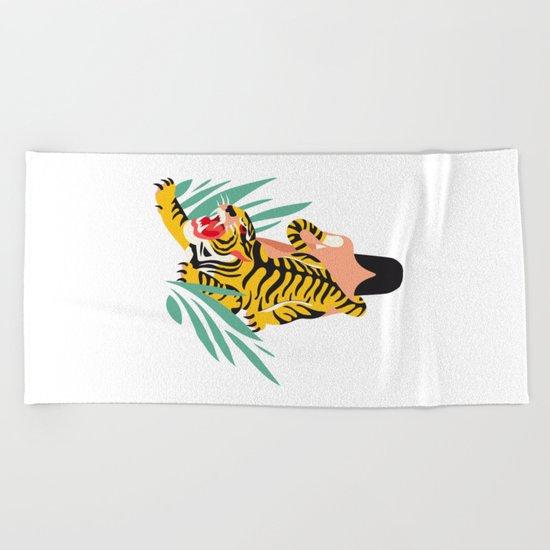 Waking the tiger Beach Towel