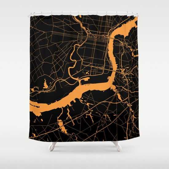 Philadelphia The Orange And The Black Shower Curtain By MapMaker Society6