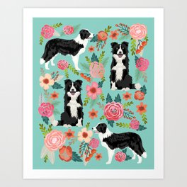 Border Collie cute florals dog gifts for collie black and white puppy dog herding dog Art Print