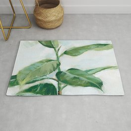 Houseplant Painting of Rubber Tree Rug