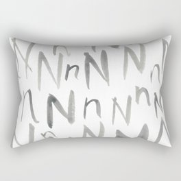 Watercolor N's - Grey Gray Rectangular Pillow