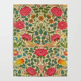 William Morris Roses Floral Textile Pattern Poster