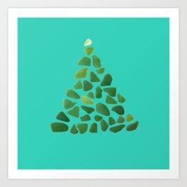 Green Sea Glass Tree on Turquoise #seaglass #Christmas Art Print