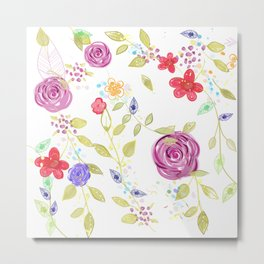 Nature botanical floral pattern Metal Print
