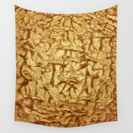 Gold Waves and Ripples Textured Wavelet Paint Art Wall Tapestry