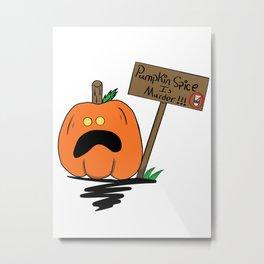 Pumpkin Protester Metal Print
