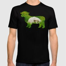 Sheep in the grass MEDIUM Black Mens Fitted Tee