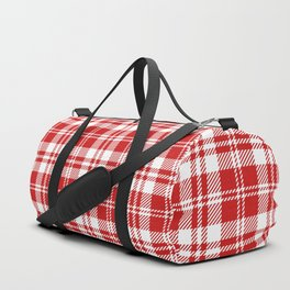Cozy Plaid in Red and White Duffle Bag
