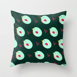 Green Birdies Throw Pillow