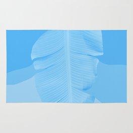 Tropical Banana Leave Pastel Blue Ombre Design Rug