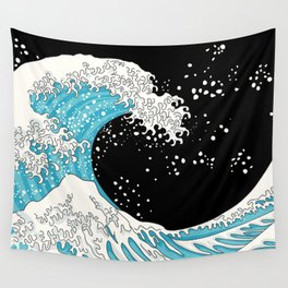 The Great Wave (night version) Wall Tapestry