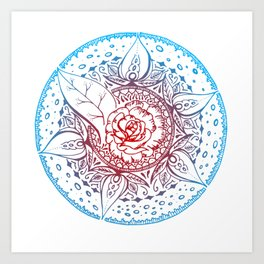 Red and blue Rose Art Print