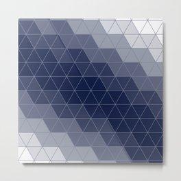 Indigo Navy Blue Triangles Metal Print